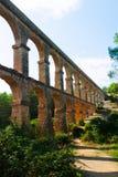 Roman aqueduct de les Ferreres in sunny day Stock Images