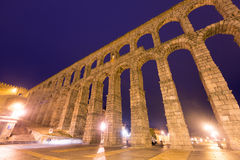 Roman Aqueduct in early morning time. Segovia Stock Image