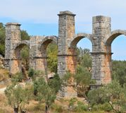 Roman aqueduct on island Lesbos,Greece Royalty Free Stock Images