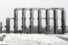 Roman aqueduct in Merida. A  snow covered the Roman aqueduct in Merida (Spain Stock Image