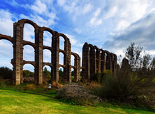 Roman Aqueduct of Merida in  day time Stock Photos