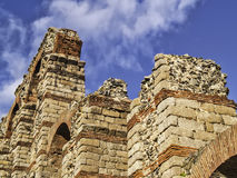 Roman aqueduct in Merida detail Royalty Free Stock Images