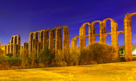 Roman Aqueduct of Merida in evening Stock Photo