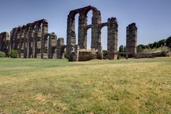 Roman Aqueduct of Merida. Los Milagros from west side. Extremadura, Spain Royalty Free Stock Photography