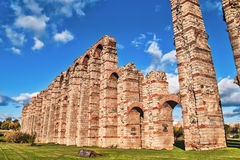 Roman aqueduct in Merida side Royalty Free Stock Images