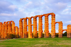 Roman aqueduct at Merida Stock Photo