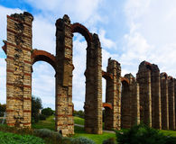 Roman aqueduct. Merida, Spain Stock Photos