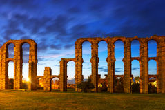 Roman Aqueduct of Merida in  twiligh Royalty Free Stock Photography