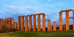 Roman Aqueduct of Merida in  twilight Stock Photography
