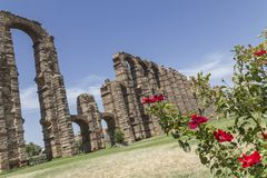 Acueducto de los Milagros, Merida, Spain. Roman Aqueduct of the Miracles in Merida, Extremadura, Spain Royalty Free Stock Photography