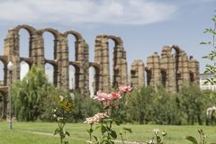 Acueducto de los Milagros, Merida, Spain. Roman Aqueduct of the Miracles in Merida, Extremadura, Spain Royalty Free Stock Images