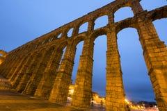 Roman Aqueduct in morning time. Segovia Stock Photos