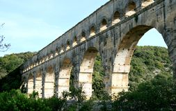 Roman aqueduct, named Pont du Gard, in France Stock Images