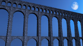 Roman Aqueduct at Night Stock Images