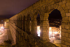 Roman aqueduct  in  night Royalty Free Stock Photography
