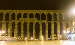 Roman aqueduct  in  night. Segovia, Stock Photos