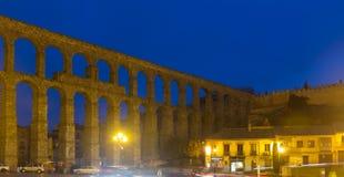 Roman aqueduct  in  night. Segovia Stock Images