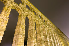 Roman aqueduct in night Stock Photo