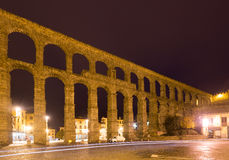 Roman Aqueduct in night  time. Segovia Royalty Free Stock Photography