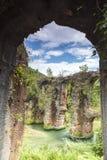 Roman aqueduct of Nikopolis against beautiful cloudy sky in Gree Royalty Free Stock Photos