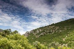 Roman aqueduct of Nikopolis against beautiful cloudy sky in Gree Stock Image