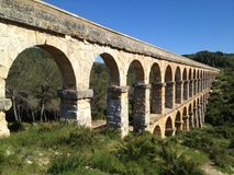 Roman Aqueduct Perspective View. A Roman aqueduct in Northern Spain Royalty Free Stock Images
