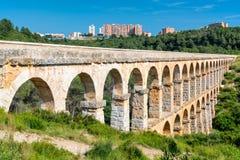 Roman Aqueduct Pont del Diable i Tarragona royaltyfria foton