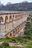 Roman Aqueduct Pont del Diable in Tarragona, Spain Stock Image