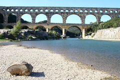 Roman aqueduct. Pont-du-Gard Royalty Free Stock Photo