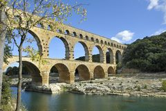 Roman aqueduct Pont du Gard, France. This bridge is an Unesco World Heritage site Royalty Free Stock Photography
