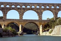 Roman aqueduct. Pont-du-Gard in France Stock Image