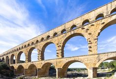 Pont du Gard, France. Roman aqueduct, Pont du Gard, France Stock Photo