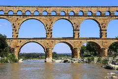 Roman aqueduct Pont du Gard Stock Photos