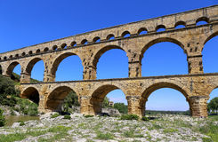 Roman aqueduct Pont du Gard Stock Photo