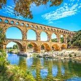 Roman aqueduct Pont du Gard, Unesco site.Languedoc, France. Roman aqueduct Pont du Gard, Unesco World Heritage site. Located near Nimes, Languedoc, France Stock Photos