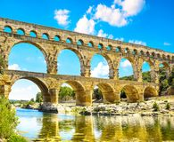 Roman aqueduct Pont du Gard, Unesco World Heritage site. Located near Nimes, Languedoc, France Stock Photos
