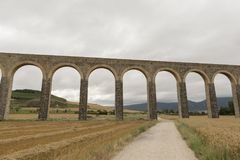 Roman aqueduct. In the province of navarra, spain Stock Photos