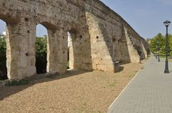 Roman aqueduct. Remains of an ancient Roman aqueduct in Merida, Spain Royalty Free Stock Images