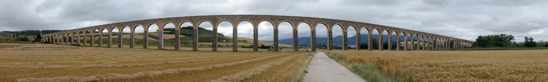 Roman aqueduct. In the province of navarra, spain Stock Images