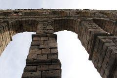 Roman Aqueduct ruins in Segovia Spain. Roman ruins of ancient Aqueducts in Segovia Spain royalty free stock image