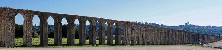 Roman Aqueduct. A section of the ancient Roman aqueduct that supplied water to the Portuguese town of Obidos Royalty Free Stock Photo