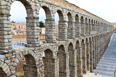 Roman aqueduct in Segovia. (Spain Royalty Free Stock Images