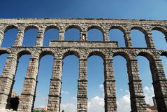 Roman Aqueduct in Segovia. Spain stock photography