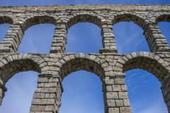Roman aqueduct of segovia. architectural monument declared patrimony of humanity and international interest by UNESCO royalty free stock image