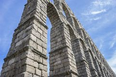 Roman aqueduct of segovia. architectural monument declared patrimony of humanity and international interest by UNESCO royalty free stock images