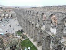 Roman aqueduct in Segovia. Architecture of the Roman aqueduct in Segovia Spain stock photography