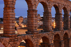 Roman aqueduct of Segovia Royalty Free Stock Photo