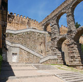 Roman Aqueduct of Segovia - intersection of the fortress wall Royalty Free Stock Photo