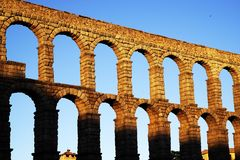 The Roman aqueduct of Segovia - the most important architectural landmark of Segovia. The Aqueduct of Segovia or more accurately, the aqueduct bridge is a Roman stock images