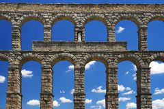 The Roman aqueduct of Segovia - the most important architectural landmark of Segovia. The Aqueduct of Segovia or more accurately, the aqueduct bridge is a Roman stock photos